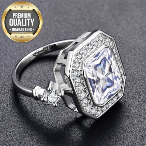 Image of Women's Noble White Gold Color Engagement Rings for Women Wedding Clear AAA Zircon Fashion Jewelry Bague Bijoux Size 6 7 8 H835