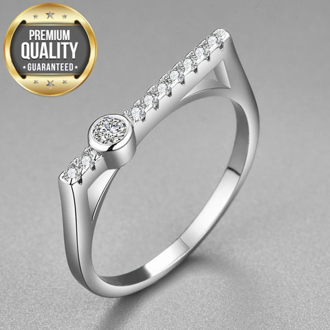 Image of Women's White Gold Color Rings for Women Wedding Geometric Clear AAA Zircon Trendy Romantic Jewelry Bague Bijoux Size 5-12 R1143