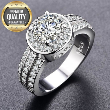 Women's White Stone Rng Round White Gold Color Rings for Women Wedding engagement Jewelry New Fashion Accessories Bague H111