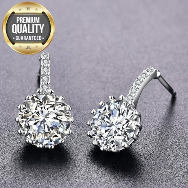Belot White Gold Round Earrings