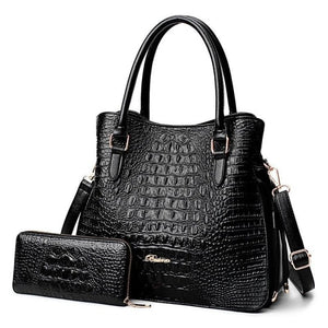 Bo Alligator 2 Pcs Purse Handbag