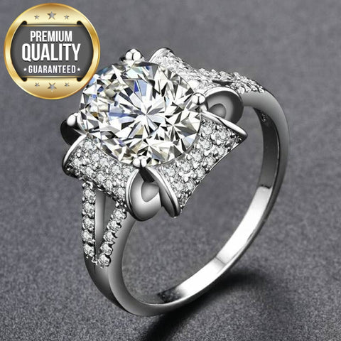 Image of Women's White Gold Color Rings for Women Engagement Wedding white AAA Zircon Jewelry Bague Bijoux Size 6 7 8 9 H657