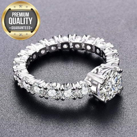 Image of Women's White Gold Color Engagement Rings For Women White AAA Zircon Jewelry Fashion Women Wedding Ring Size 5-12 H373