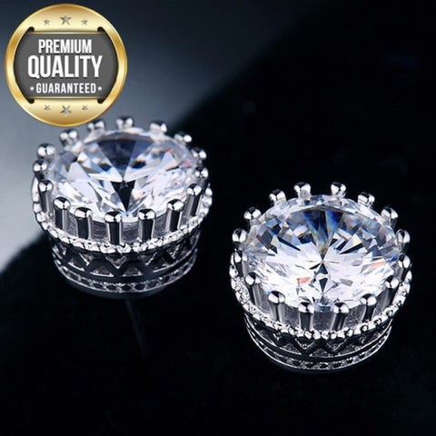 Women's Crown Stud Earrings Fashion White Gold Color Brincos Jewelry for Women Vintage Wedding Earrings 2015 New Arrived MSE001