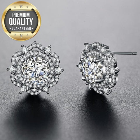 Women's Stud Earrings for Women White Gold Color Jewelry Flower AAA zircon Boucle D'oreille Wedding Brincos A071