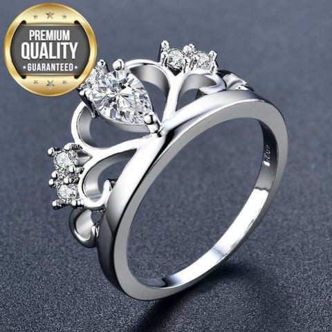 Women's White Gold Color Women Wedding Love Rings AAA Zircon Engagement Jewelry Crown Femme Bijoux Accessories Size 5-12 H1028