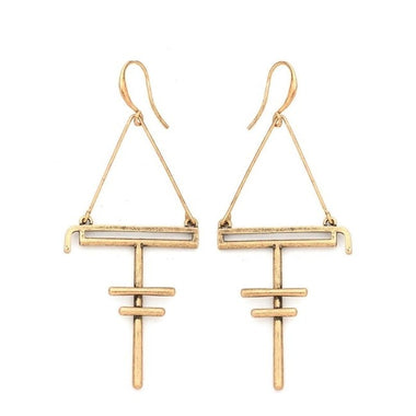 2017 New Triangle Geometric Long Dangle Earrings For Women Vintage Gold Silver Bar Statement Alloy Earrings Handmade Jewelry