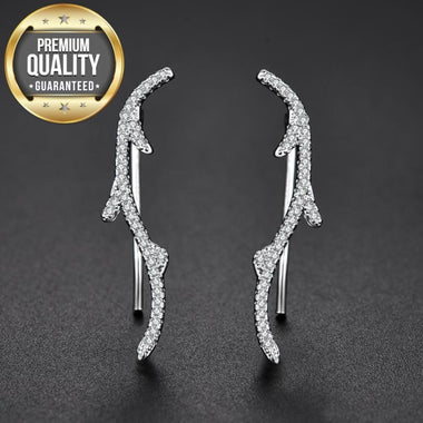 Women's White Gold Color Geometric Jewelry Women Earrings AAA Zircon Wedding Engagement Trendy Brincos Dendriform for Women A424