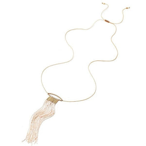 Rosalba Long Rope Tassel Collar Necklace