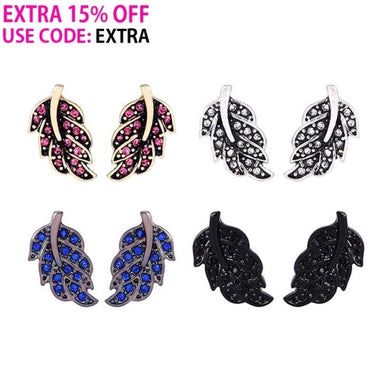 4 Colors Crystal Leaf Small Stud Earrings Fashion Jewelry Cute Fashion Earrings for Women