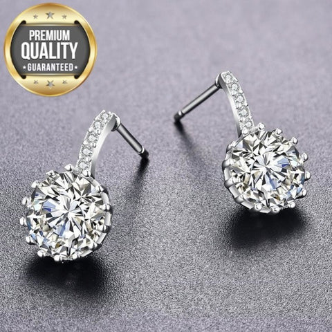Image of Belot White Gold Round Earrings