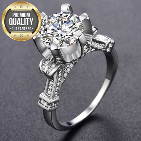 Image of Women's Wedding Rings for Women White Gold Color women rings Engagement wedding AAA Zircon Jewelry Bijoux ring Size 6 7 8 MSR289