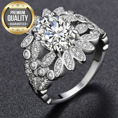 Women's White Gold Color Ring for Women Engagement Wedding White Noble AAA Zircon Jewelry Bague Bijoux Size 5-12 H1273