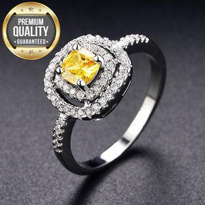 Women's White Gold Color Ring yellow Stone AAA Zircon Jewelry for Women Engagement Wedding bague bijoux Size 6 7 8 9 H208