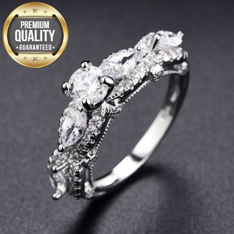 Image of Women's White Gold Color Wedding Rings for Women AAA Zircon vintage Jewelry accessories Bague Bijoux Size 6 7 8 9 H677