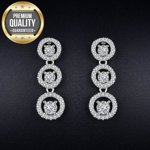 Women's Stud Earrings for Women White Gold Color Jewelry Clear AAA zircon Boucle D'oreille round Wedding Brincos A179