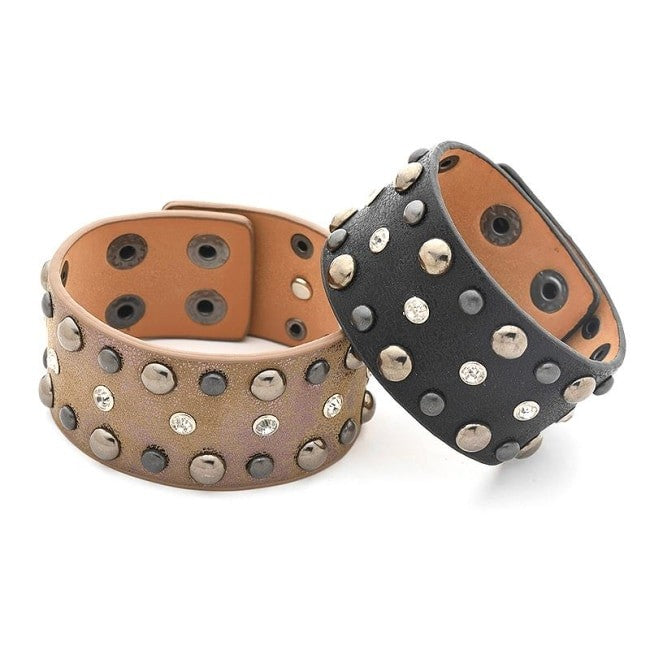 2017 New Wide PU Leather Bracelets&Bangles For Women Punk Rock Gothic Rhinestone Black Brown Cuff Bracelets for Female Lover