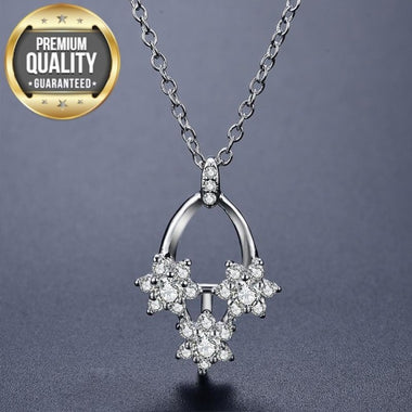 Women's Necklace Pendant White Gold Color Jewelry for Women flower Wedding Engagement wedding Clear AAA Zircon Necklace D172