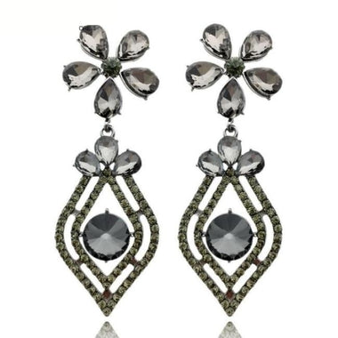 Turner Gray Crystal Drop Earrings