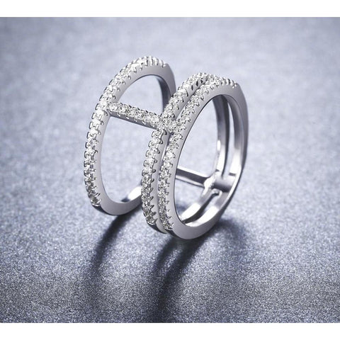 Image of Women's White Gold Color Rings for Women Fashion AAA Zircon Jewelry wedding women Rings for engagement bijoux ring Bague MSR423