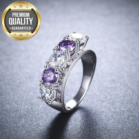 Image of Women's White Gold Color Rings For Women Fashion Wedding Ring Vintage Purple Stone Ring AAA Zircon Jewelry Size 6 7 8 MSR901