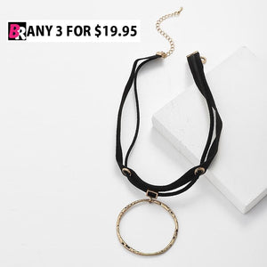 Fanaka Rock Suede Collar Choker Necklace