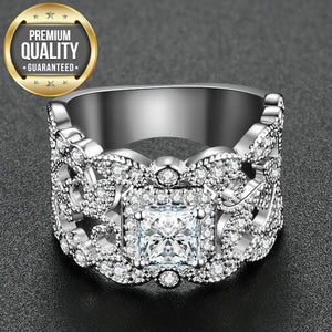 Women's White Gold Color Round Wedding engagement Rings for Women AAA Zircon Jewelry accessories Bague Bijoux Size 6-10 R1034