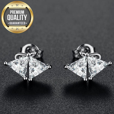 Women's White Gold Color AAA Zircon Special Design Geometric Earrings For Women Wedding Jewelry Boucle D'oreille Brincos E136