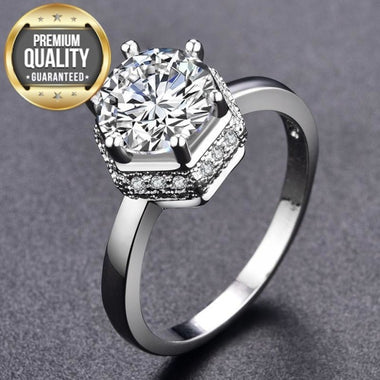 Women's White Gold-Color Wedding Rings for Women AAA Zircon Jewelry Engagement Bague Bijoux Accessories Size 6 7 8 MSR381