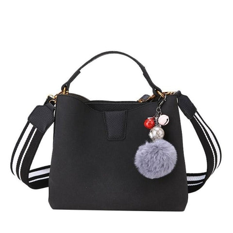 Image of Elsebeth Nubuck Leather Handbag with Furball