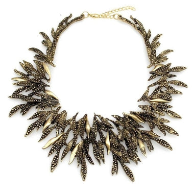 Sinda Retro Leaf Geometric Choker Necklace