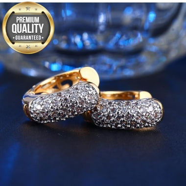 Women's Gold Color Hoop Earrings for Women AAA Zircon Engagement High-end Fashion Jewelry Bijoux MSE022
