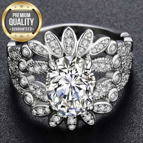 Image of Women's White Gold Color Ring for Women Engagement Wedding White Noble AAA Zircon Jewelry Bague Bijoux Size 5-12 H1273