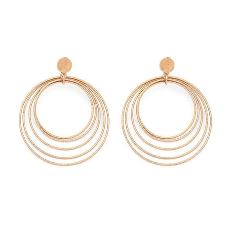 Bohemian Round Circle Statement Big Drop Earrings Jewelry For Women 2 Color Alloy Fashion Round Dangle Earrings Jewelry Brincos