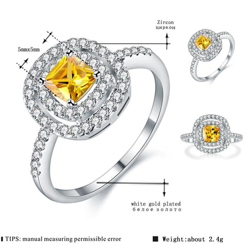Image of Women's White Gold Color Ring yellow Stone AAA Zircon Jewelry for Women Engagement Wedding bague bijoux Size 6 7 8 9 H208
