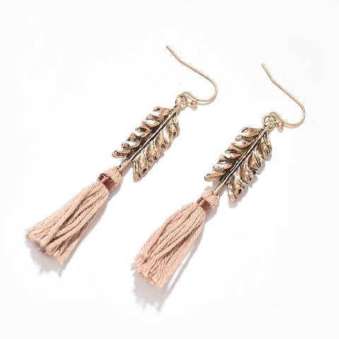 Image of Bohemian Leaf Tassel Drop Earrings Vintage Antique Gold Metal Cotton Tassel Handmade Drop Dangle Earring Jewelry For Women Daily
