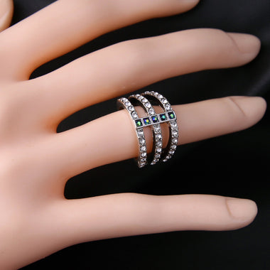 Brand Antique Silver Color Punk Vintage Rings for Women 2016 New Crystal Ring Female Bijoux
