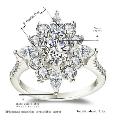 Women's White Gold Color Wedding engagement Round Star Rings for Women AAA Zircon Jewelry accessories Bague Bijoux Size5-12 R1046