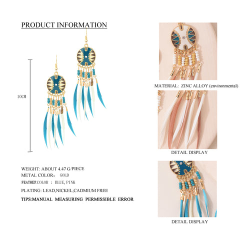 Image of Cara Long Feather Drop Dangle Earrings