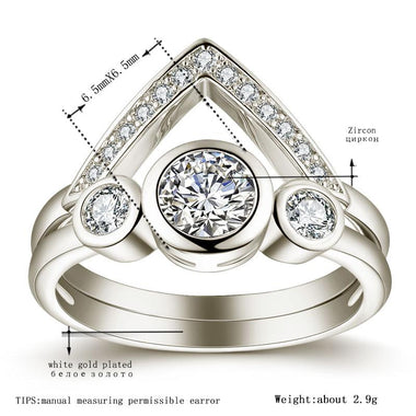 Women's White Gold & Rose gold Color Wedding wedding Ring Sets for Women AAA Zircon Jewelry Bague Bijoux Size 5-12 H1355