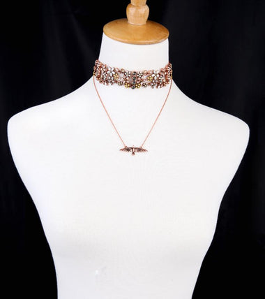 Charming Wide Red Velvet Crystal Flowers Layered Choker Necklaces for Women Fashion Jewelry