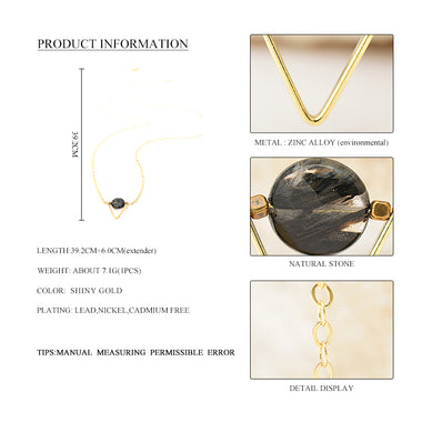 Women Fashion Zinc Alloy Triangle Necklace & Pendant Gold Zinc Alloy Geometric Metal Round Natural Stone Collar Necklace Jewelry