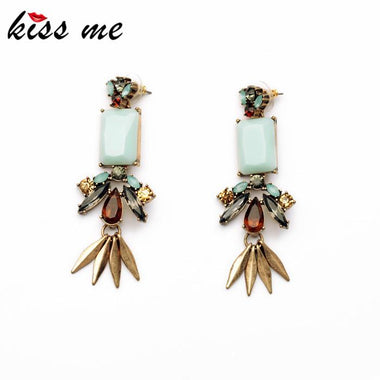 New Style Dress Match 2016 Hot Sale Resin Zinc Alloy Leaf Light Blue Moonstone Women Elegant Earring