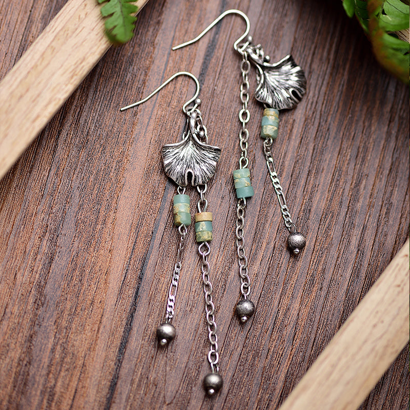 Bohemian Alloy Leaves Long Drop Earrings With Stone Beads Vintage Antique Gold Tassel Earring Plant Jewelry For Women Bijoux