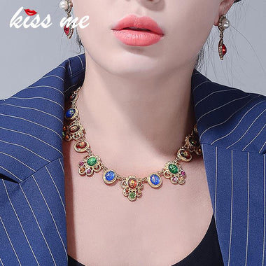 Colorful Acrylic Geometric Statement Necklace 2018 New Gold Color Chain Necklaces for Women Luxury Jewelry