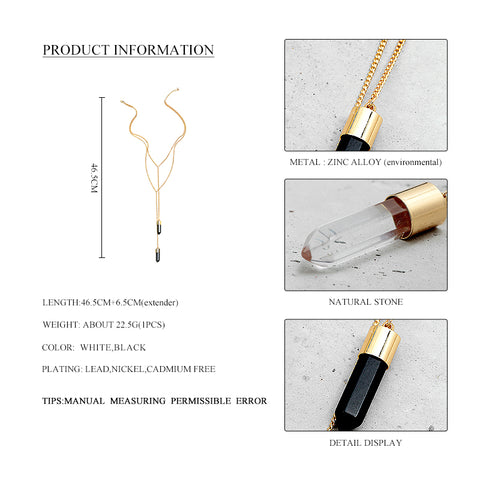 2016 New Arrival Women Gold Long Chain Black Stone Pendant Necklace Alloy 2 Layer Pendant Necklace For Female Party Wholesale