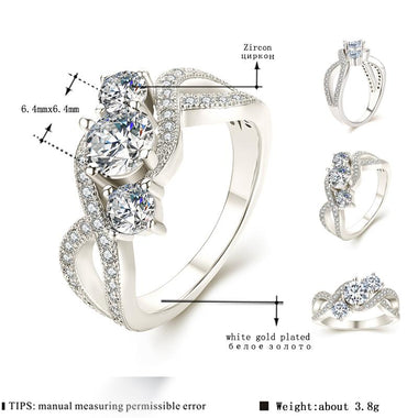 Women's White Gold Color Engagement Rings For Women AAA Zircon Jewelry Fashion Women Wedding Ring Size 6 7 8 F005