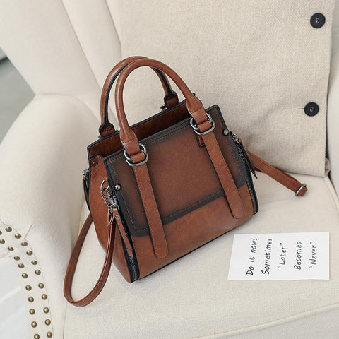 Image of Karley Retro Leather Shoulder Handbag