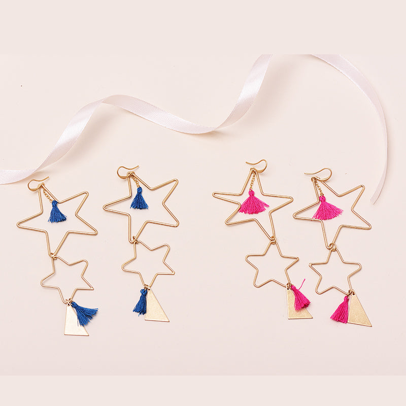 Brianna Big Double Star Long Drop Earrings