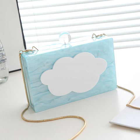 Image of Lucie White Cloud Hard Case Clutch